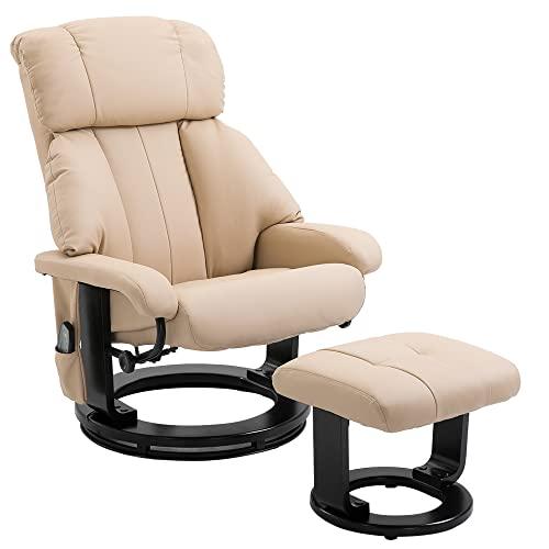 Homcom Massagesessel 700-008CW mit Heizfunktion inkl. Hocker Creme