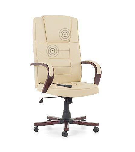 """Chefsessel Massagesessel Bürostuhl Drehstuhl """"San Diego"""" mit Massage + Sitzheizung Farbe beige / creme weiss, Fußkreuz und Armlehnen aus Holz"""