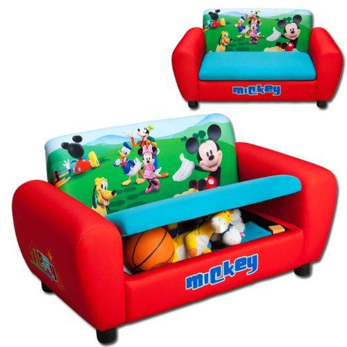 Kindersofa mit Motivauswahl (Mickey Mouse) und Strauraum - weitere Motive wählbar