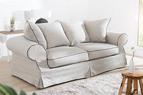 Elegantes Hussen 2er Sofa RIVIERA 210cm beige inkl. Kissen Couch Zweisitzer - 3
