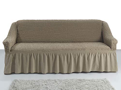 Stretch 2 Sitzer Bezug, 2 Sitzer Husse aus Baumwolle & Polyester. Sehr elastische Sofaueberwurf in ockerbraun / hellbraun / elfenbein / camel / bone
