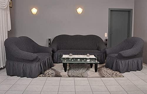 Stretch 2 Sitzer Bezug, 2 Sitzer Husse aus Baumwolle & Polyester. Sehr elastische Sofaueberwurf in anthrazit / dunkelgrau. Sofabezug Hussen Sofahusse Stretch Husse - 4
