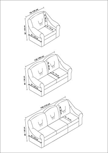 Stretch 2 Sitzer Bezug, 2 Sitzer Husse aus Baumwolle & Polyester. Sehr elastische Sofaueberwurf in anthrazit / dunkelgrau. Sofabezug Hussen Sofahusse Stretch Husse - 5