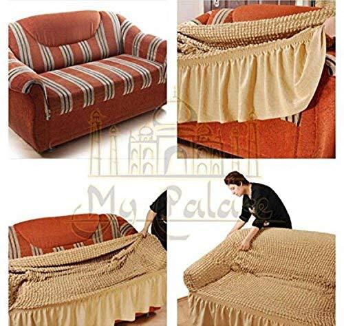 Stretch 2 Sitzer Bezug, 2 Sitzer Husse aus Baumwolle & Polyester. Sehr elastische Sofaueberwurf in anthrazit / dunkelgrau. Sofabezug Hussen Sofahusse Stretch Husse - 6