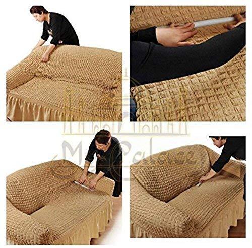 Stretch 2 Sitzer Bezug, 2 Sitzer Husse aus Baumwolle & Polyester. Sehr elastische Sofaueberwurf in anthrazit / dunkelgrau. Sofabezug Hussen Sofahusse Stretch Husse - 7