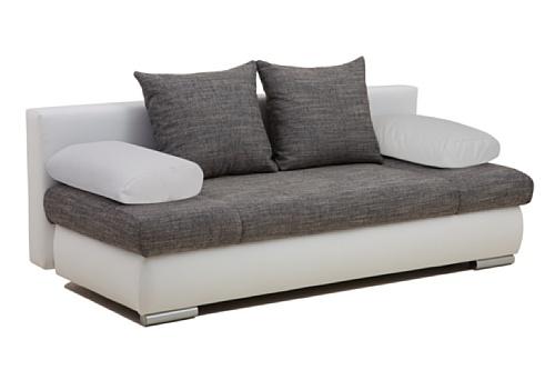 b famous schlafsofa chicago fk kunstleder wei mit strukturstoff grau entspannter alltag. Black Bedroom Furniture Sets. Home Design Ideas