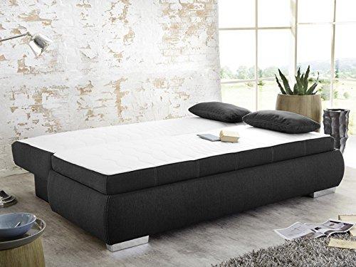 dauerschl fer schlafsofa merlin 210x112cm dunkelgrau sofa boxspring couch doppelliege. Black Bedroom Furniture Sets. Home Design Ideas