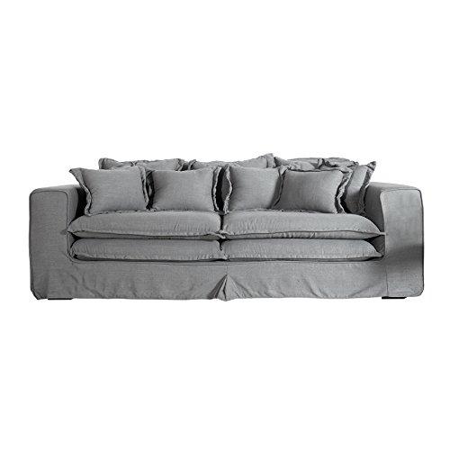 XXXL Hussensofa CLOUD grau Leinen Stoff Hussen Sofa Wohnlandschaft Couch Wohnzimmer