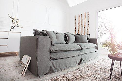 XXXL Hussensofa CLOUD grau Leinen Stoff Hussen 230cm Sofa Wohnlandschaft Couch Wohnzimmer - 3
