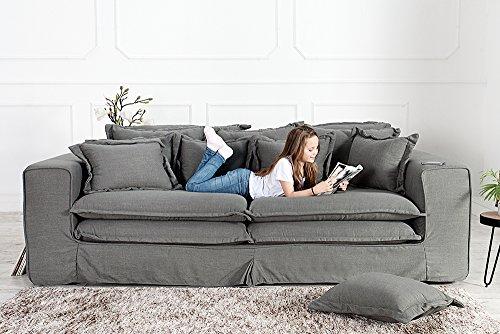 XXXL Hussensofa CLOUD grau Leinen Stoff Hussen 230cm Sofa Wohnlandschaft Couch Wohnzimmer - 5