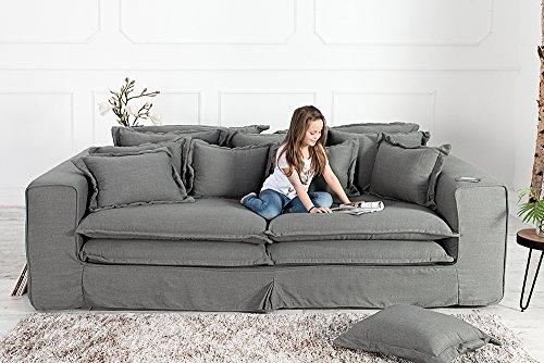 XXXL Hussensofa CLOUD grau Leinen Stoff Hussen 230cm Sofa Wohnlandschaft Couch Wohnzimmer - 8